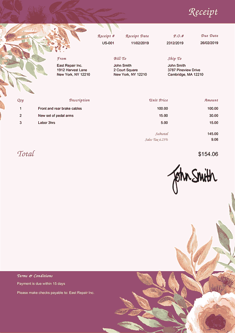 Receipt Template Us Blooming Plum