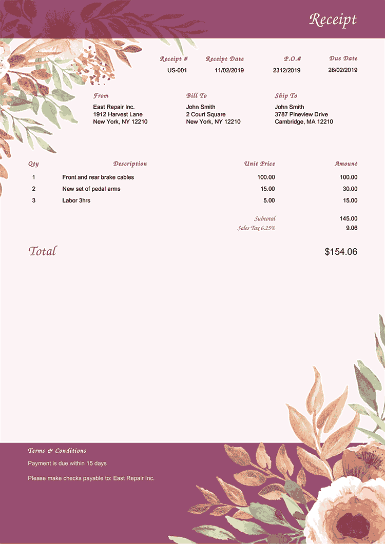 Receipt Template Us Blooming Plum No Logo