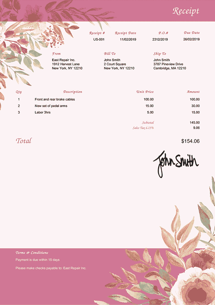Receipt Template Us Blooming Rose