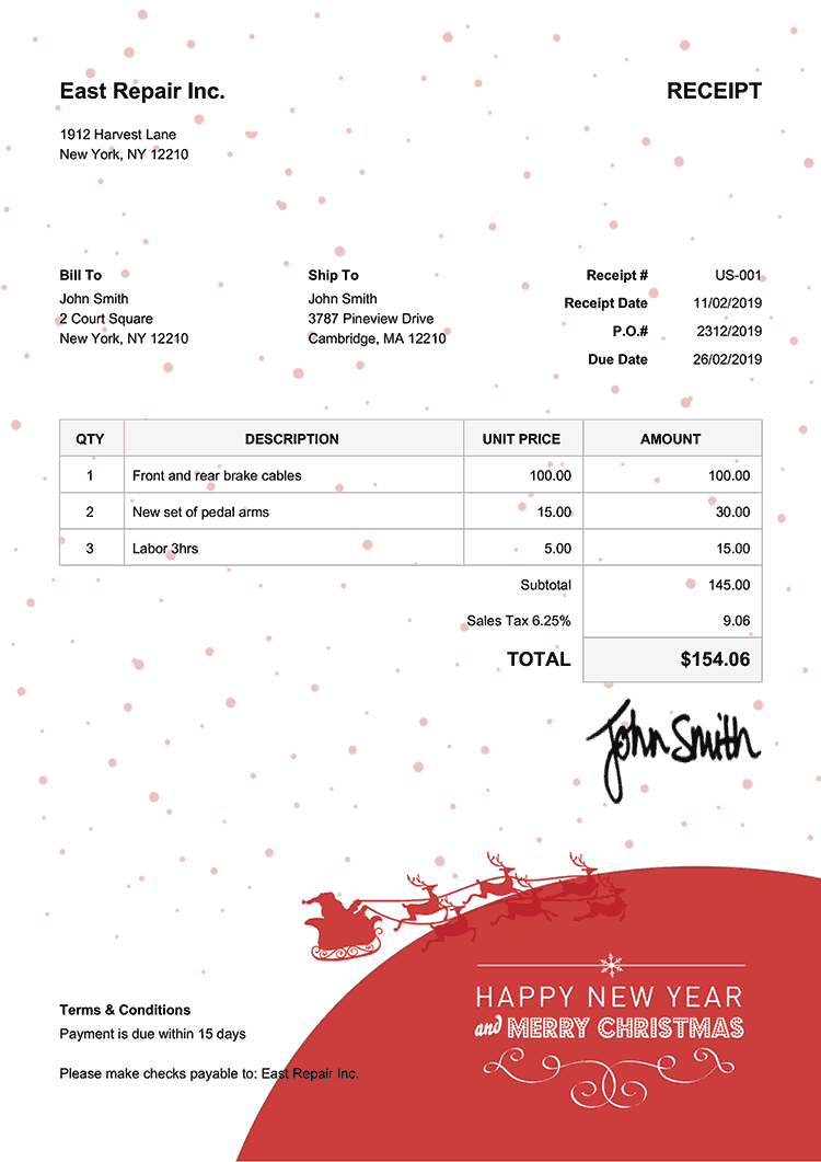 Receipt Template Us Christmas Santa Red