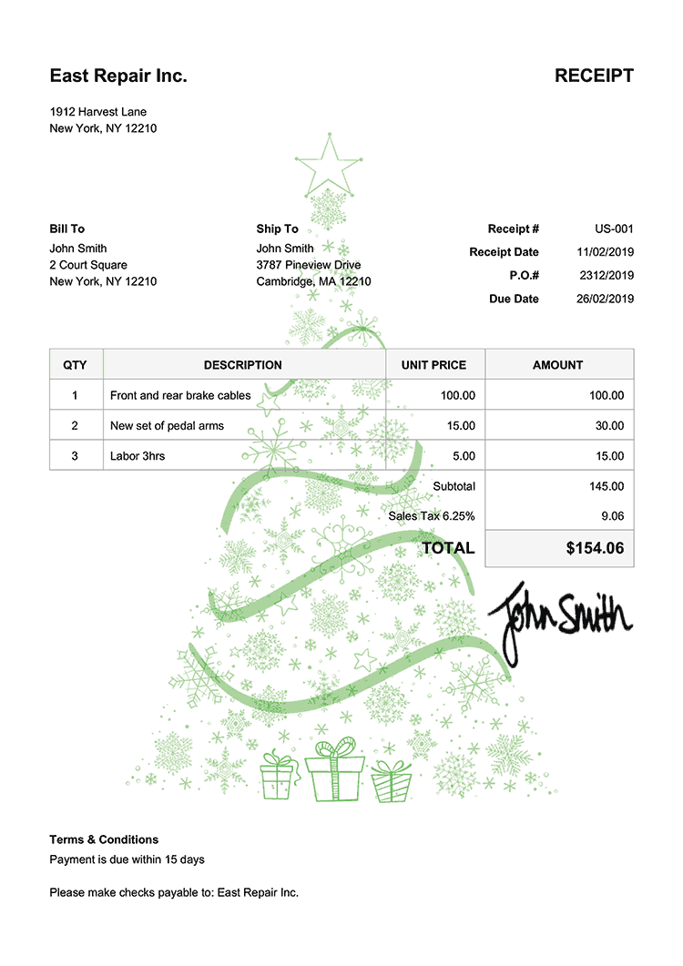 Receipt Template Us Christmas Tree Green