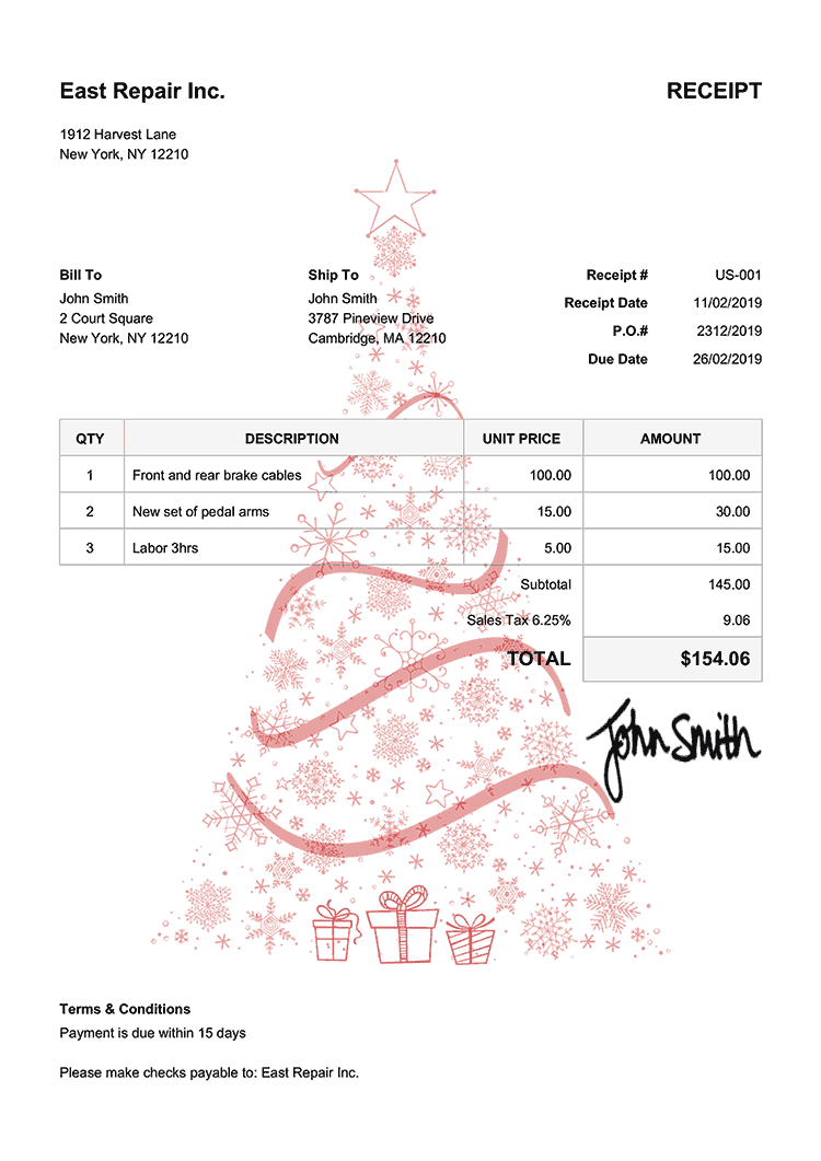 Receipt Template Us Christmas Tree Red