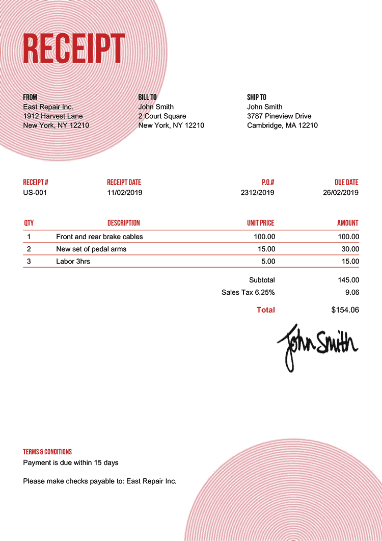 Receipt Template Us Circles Red
