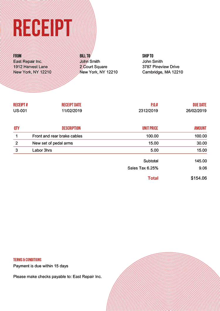 Receipt Template Us Circles Red No Logo