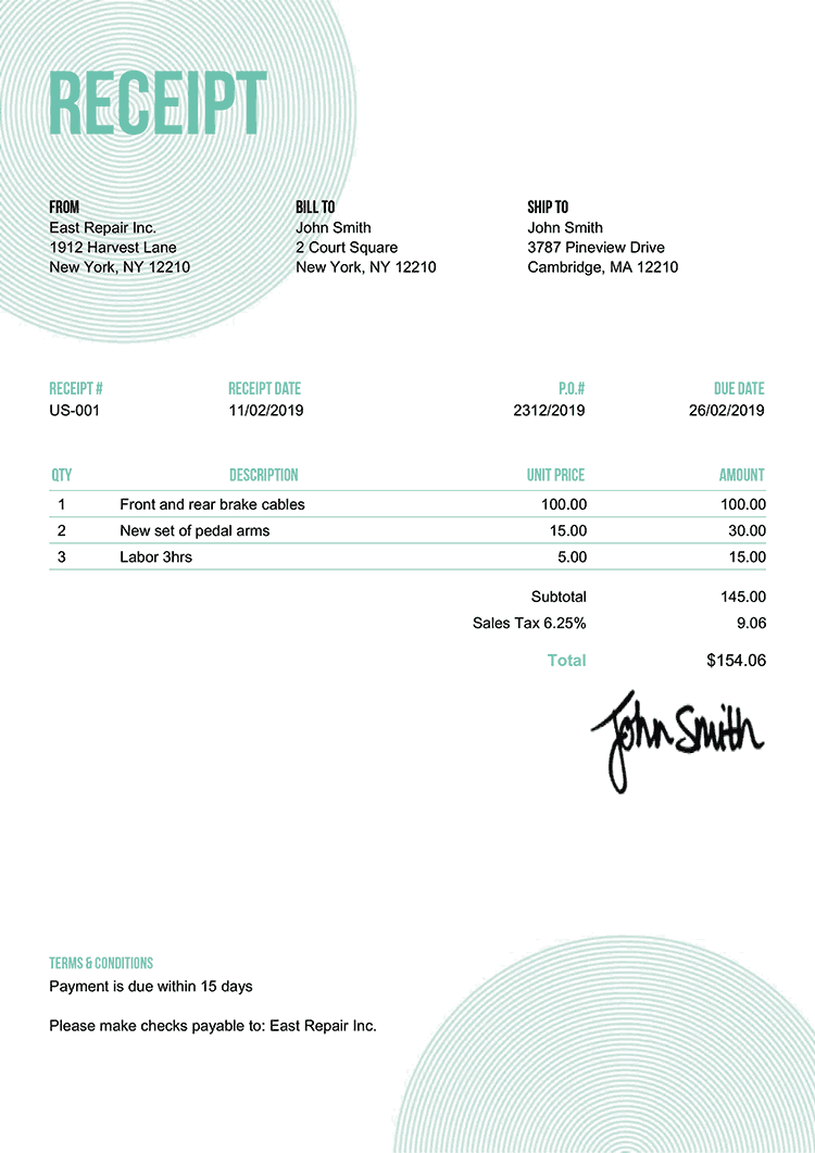 Receipt Template Us Circles Turquoise