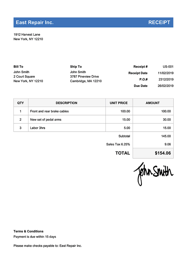 free receipt templates