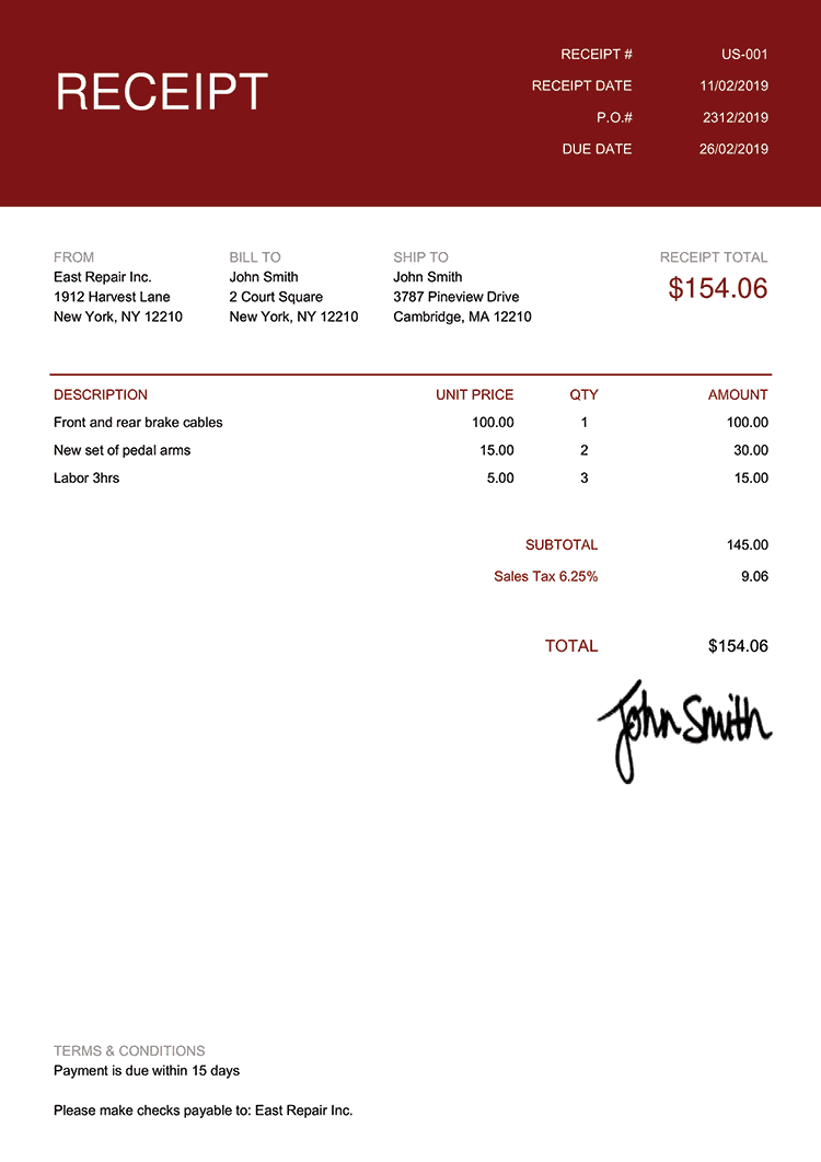 Receipt Template Us Contemporary Red
