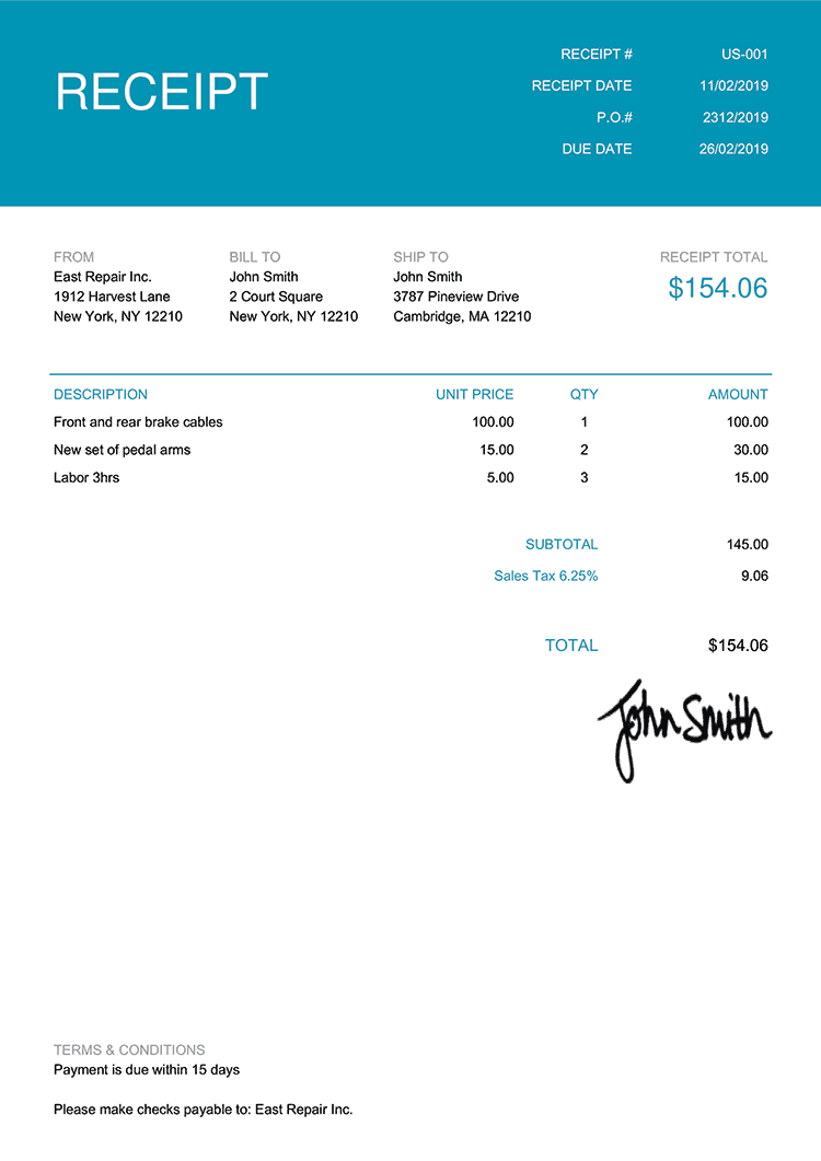 Receipt Template Us Contemporary Teal