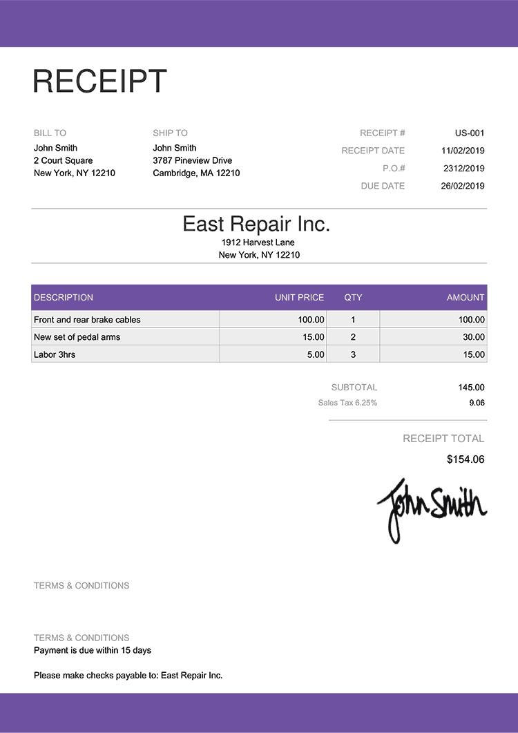 Receipt Template Us Enterprise Purple
