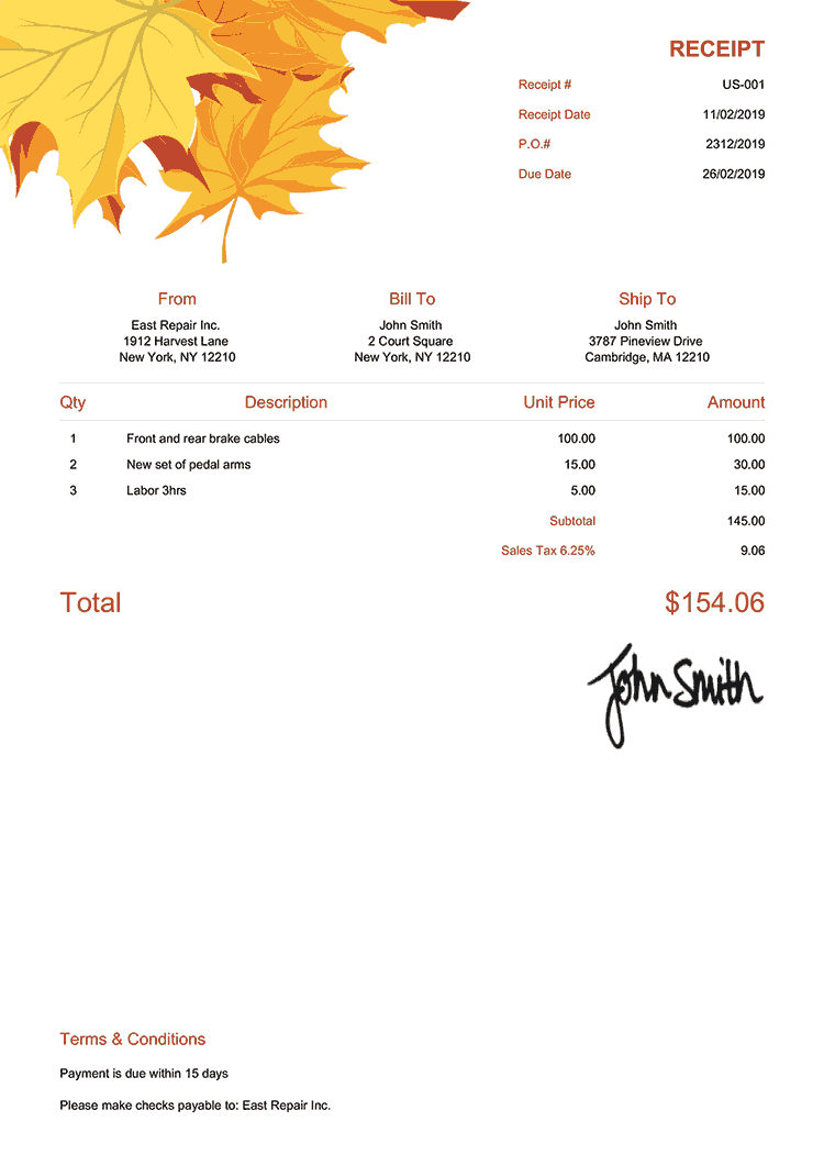 Receipt Template Us Fall Leaves