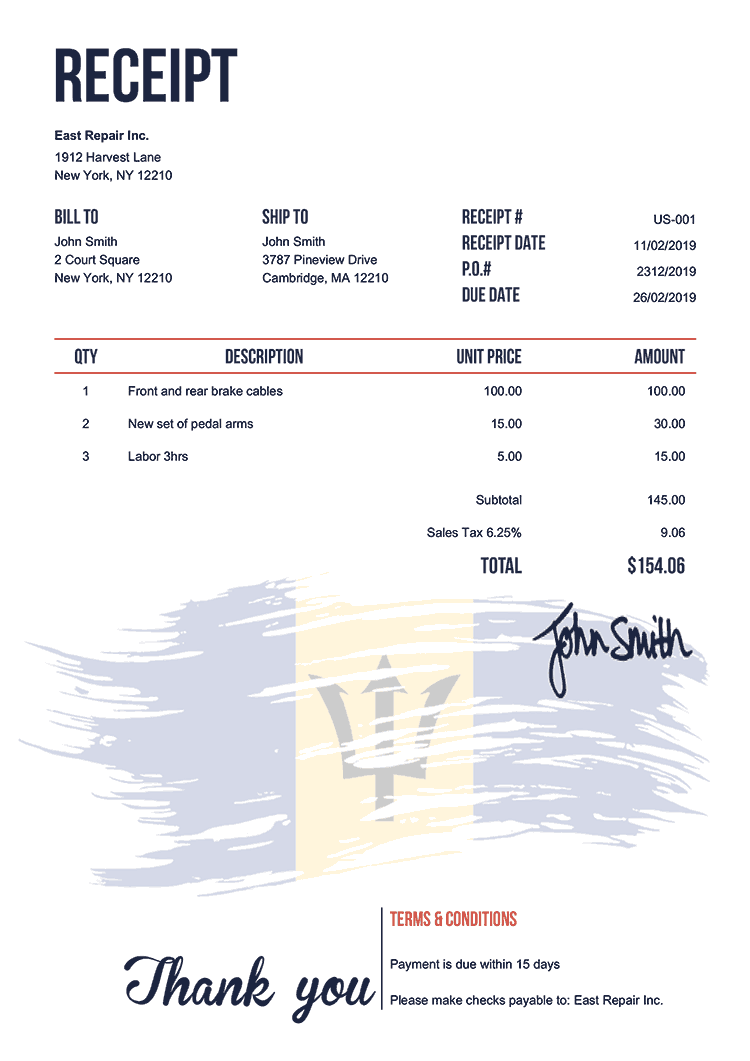 Receipt Template Us Flag Of Barbados