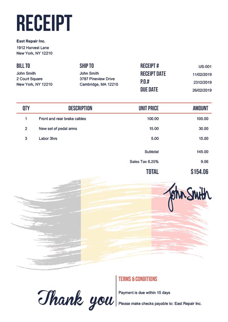 Receipt Template Us Flag Of Belgium
