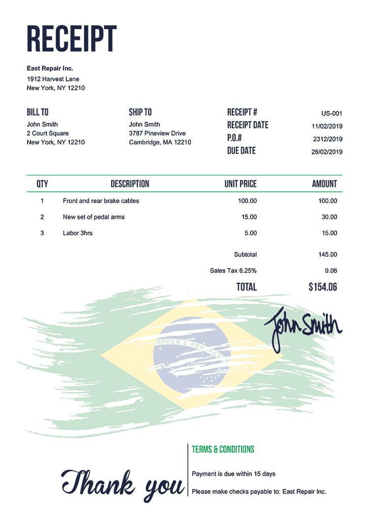 Receipt Template Us Flag Of Brazil