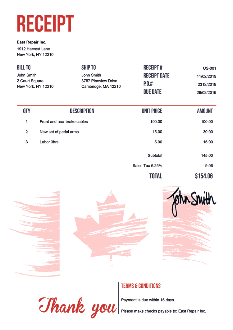Receipt Template Us Flag Of Canada
