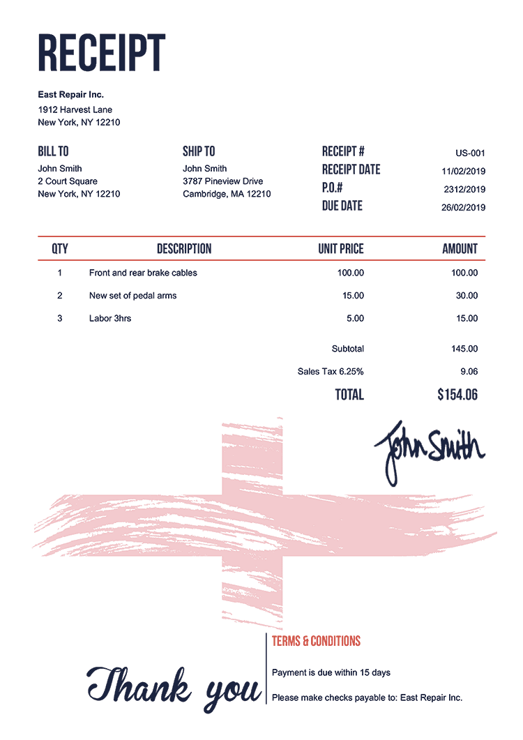 Receipt Template Us Flag Of England