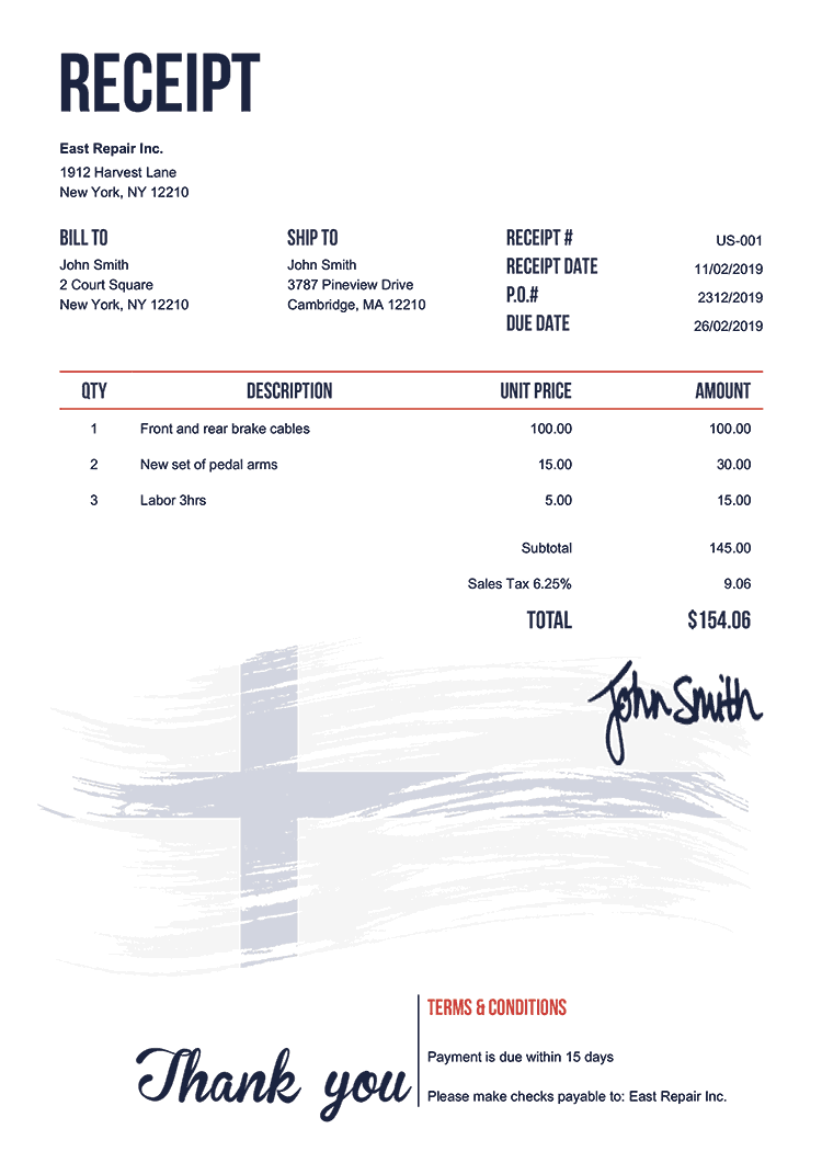 Receipt Template Us Flag Of Finland