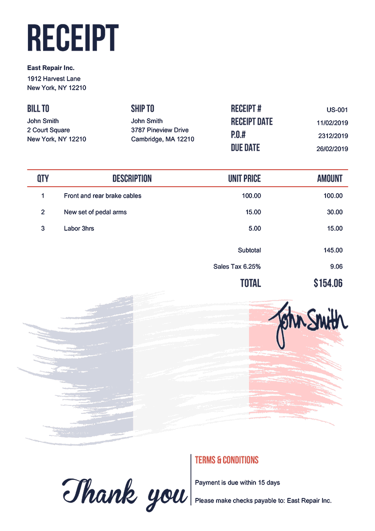 Receipt Template Us Flag Of France