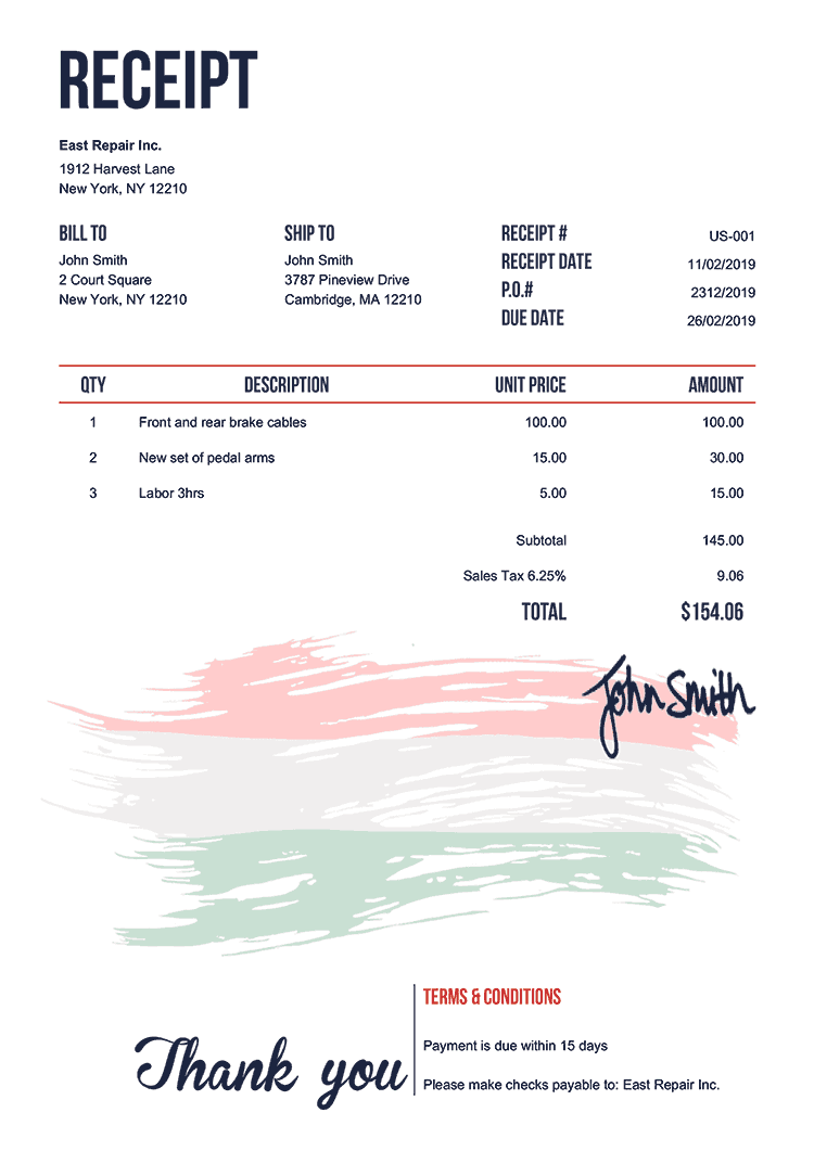 Receipt Template Us Flag Of Hungary