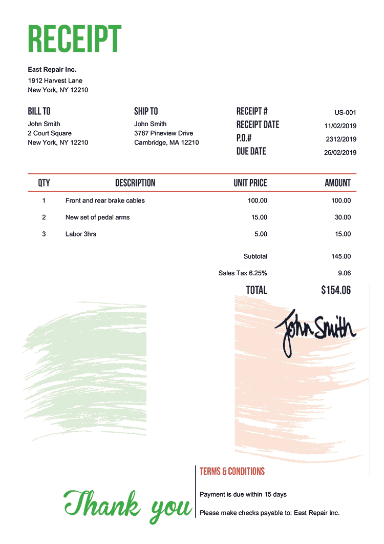 Receipt Template Us Flag Of Ireland