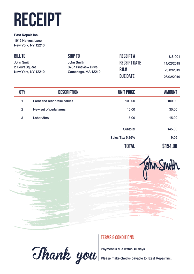 Receipt Template Us Flag Of Italy