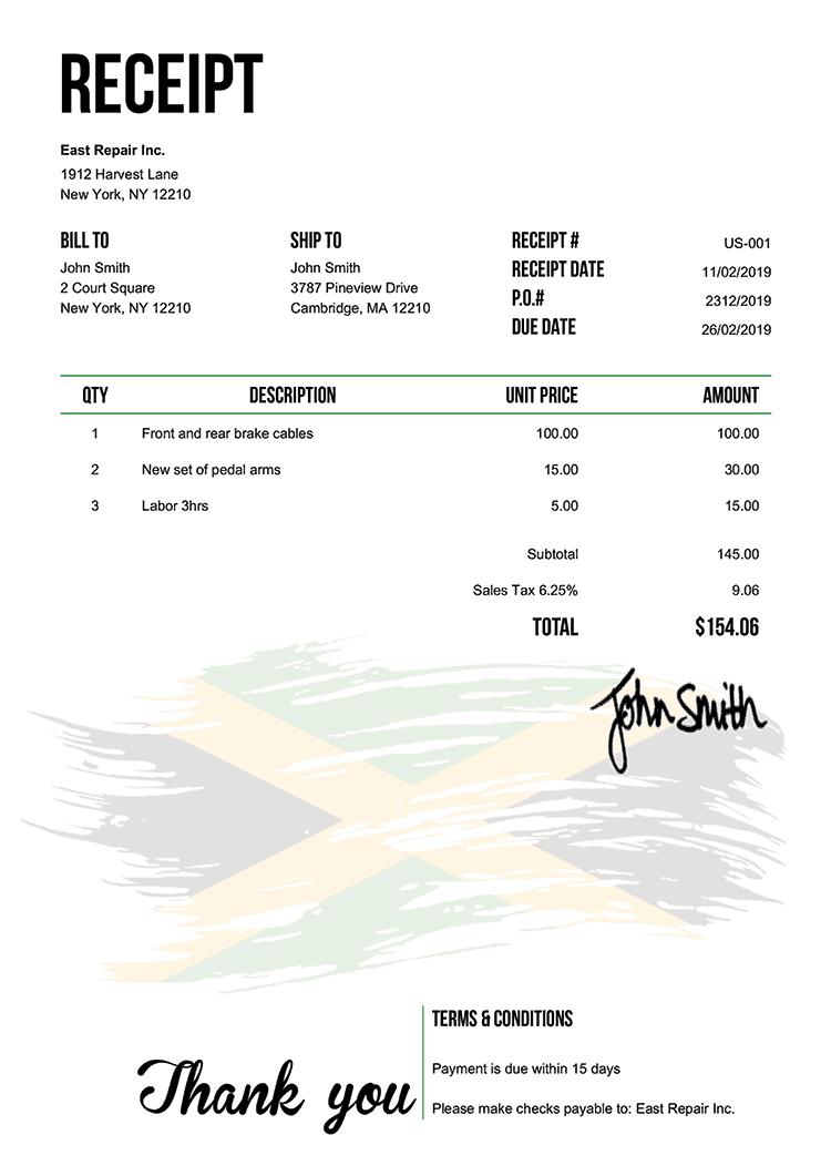 Receipt Template Us Flag Of Jamaica