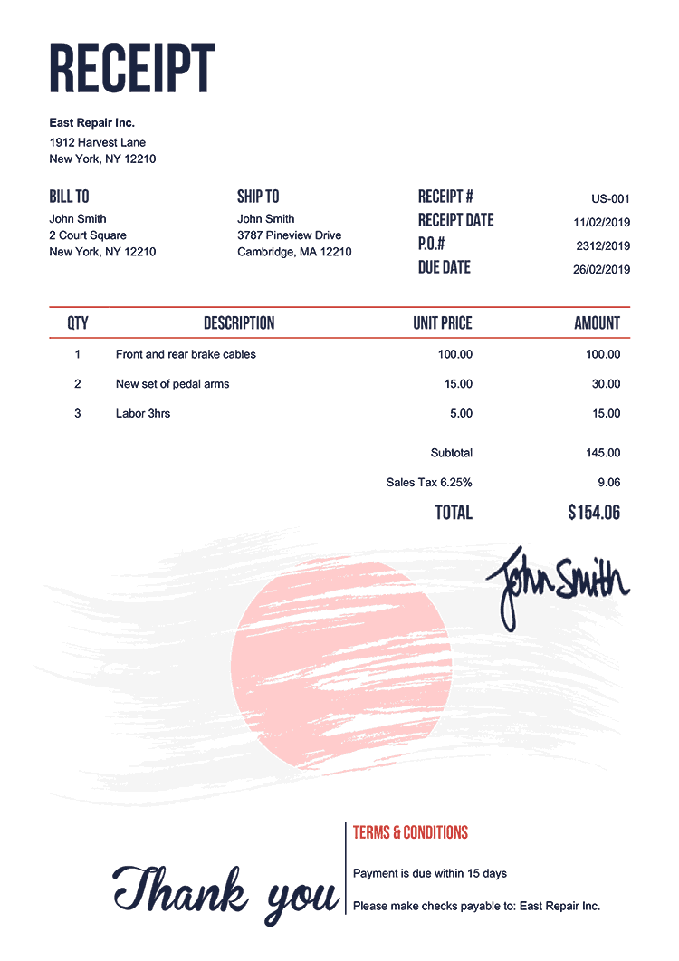 Receipt Template Us Flag Of Japan