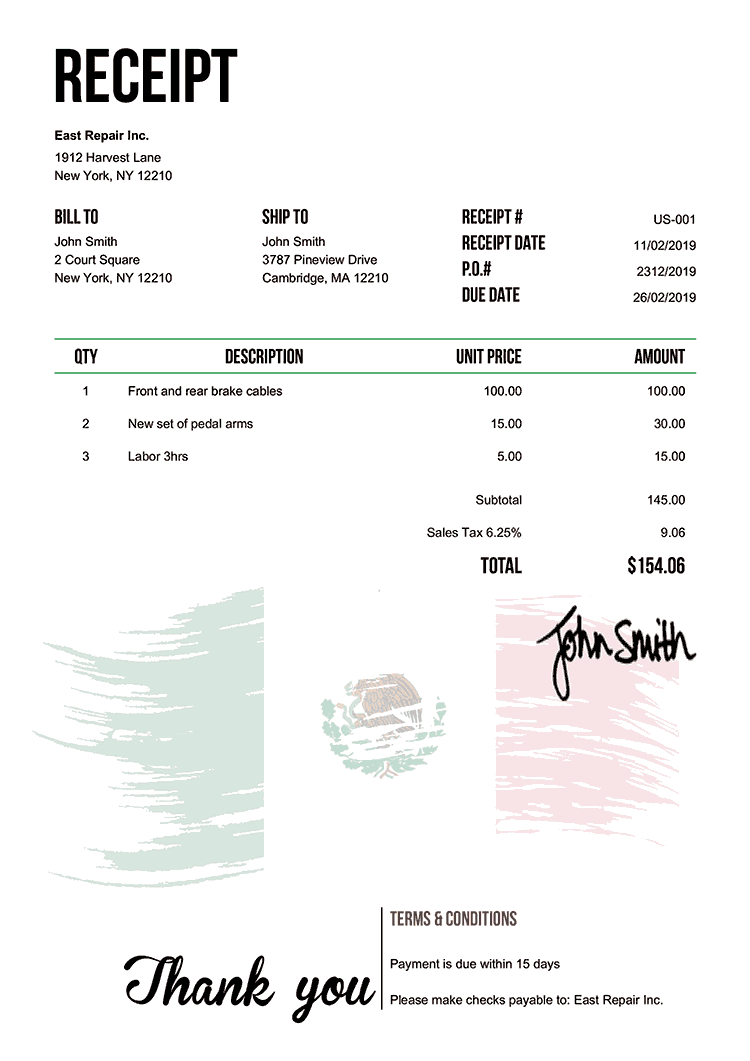Receipt Template Us Flag Of Mexico