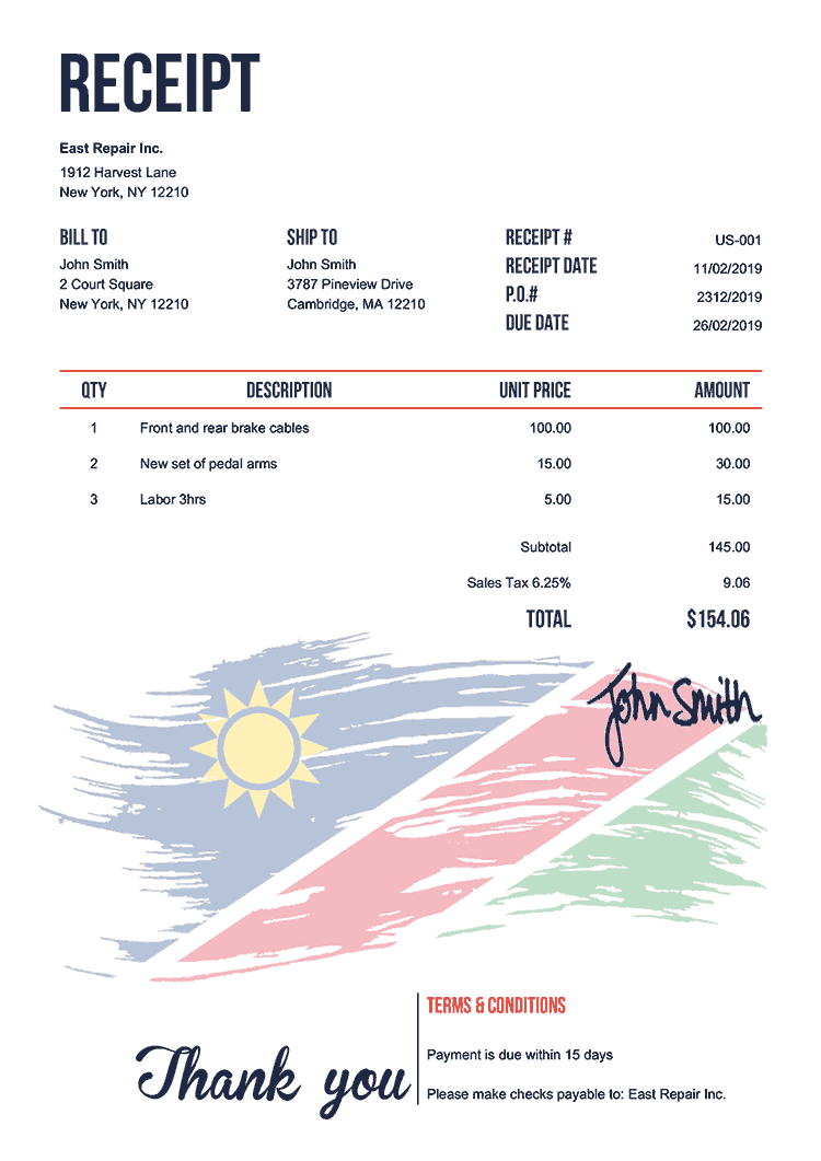 Receipt Template Us Flag Of Namibia