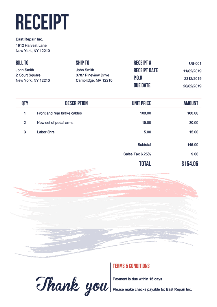 Receipt Template Us Flag Of Netherland
