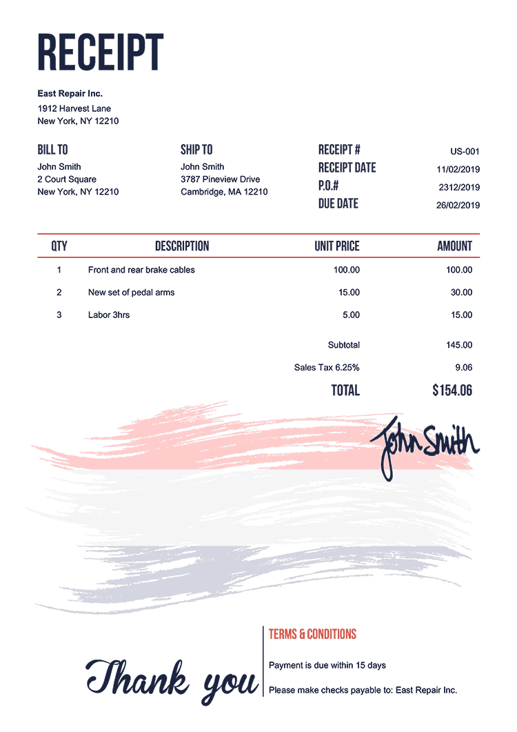 Receipt Template Us Flag Of Netherlands