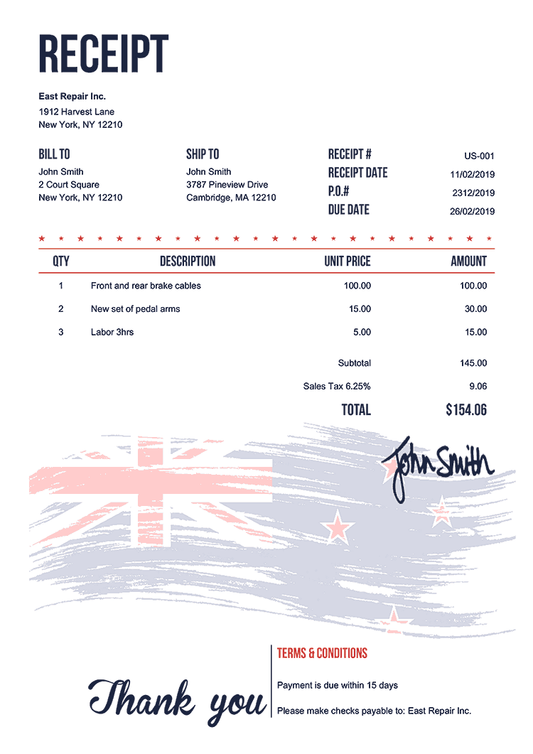 Receipt Template Us Flag Of New Zealand