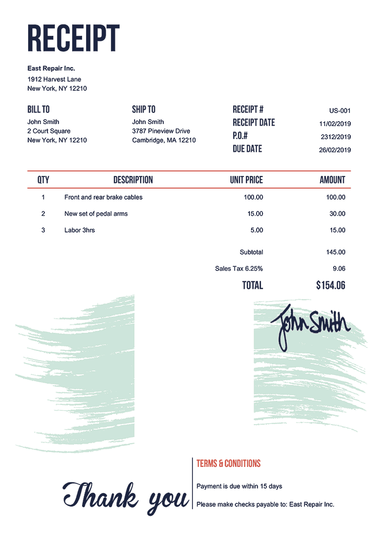 Receipt Template Us Flag Of Nigeria