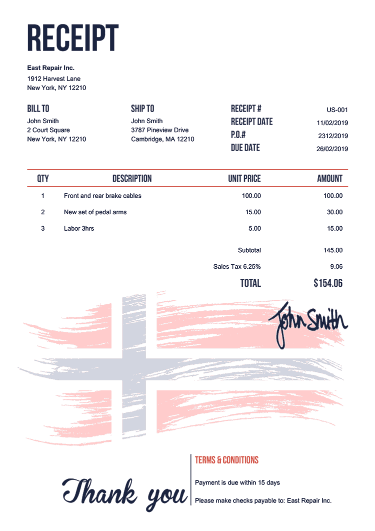Receipt Template Us Flag Of Norway