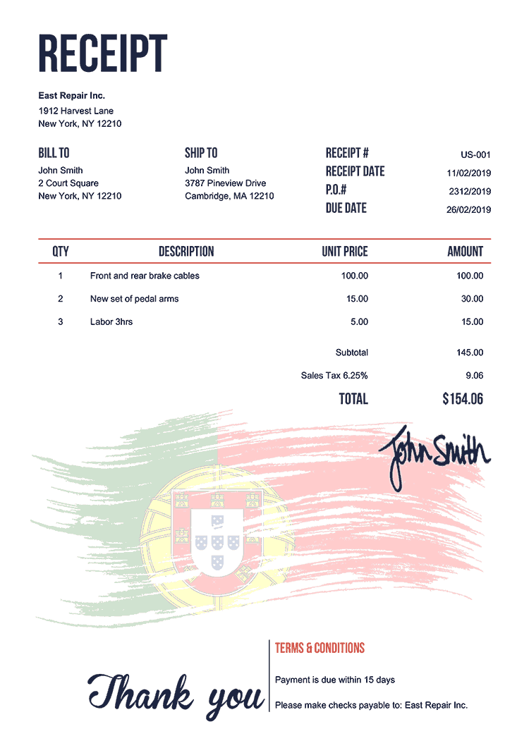 Receipt Template Us Flag Of Portugal