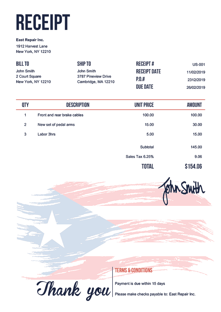 Receipt Template Us Flag Of Puerto Rico
