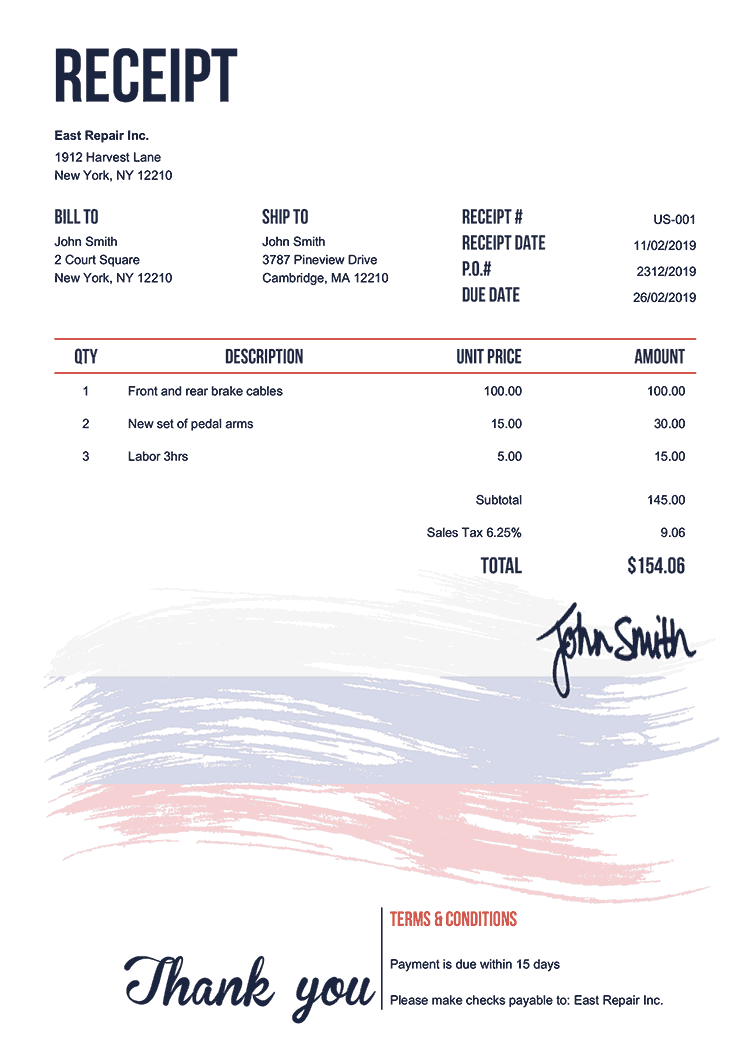 Receipt Template Us Flag Of Russia