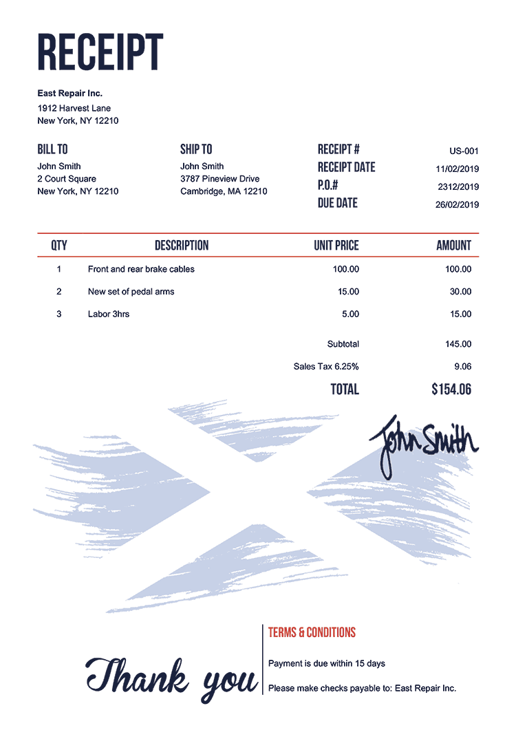 Receipt Template Us Flag Of Scotland