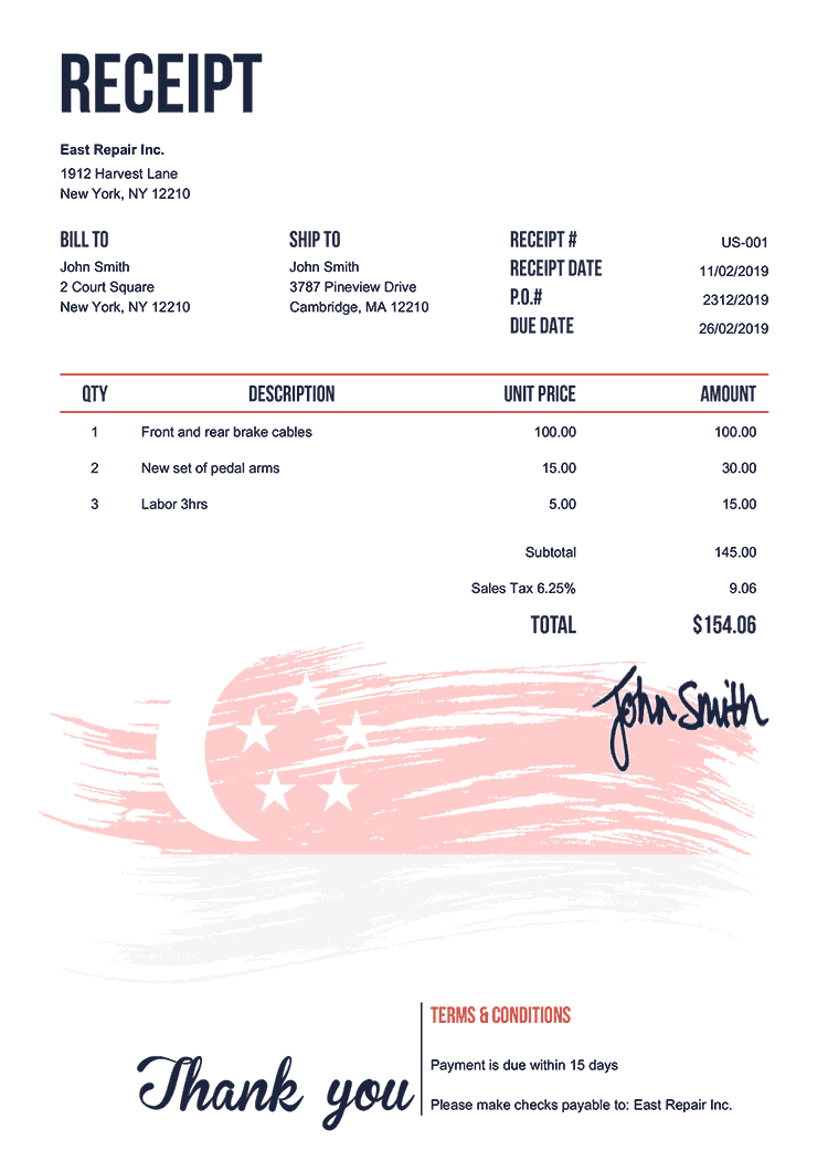 Receipt Template Us Flag Of Singapore