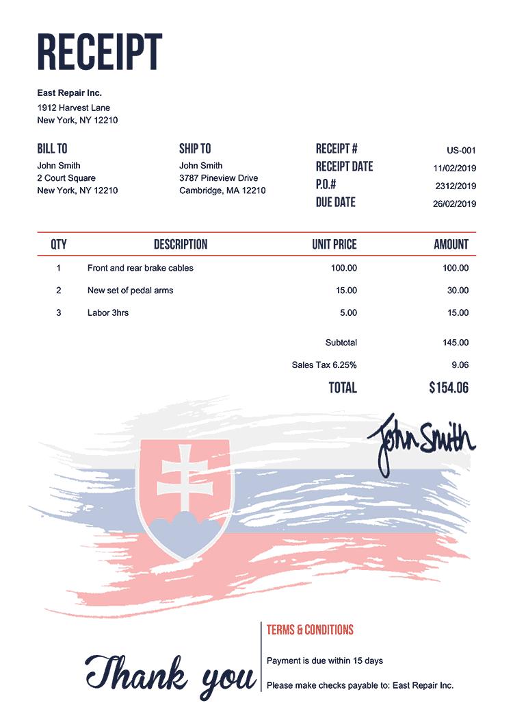 Receipt Template Us Flag Of Slovakia