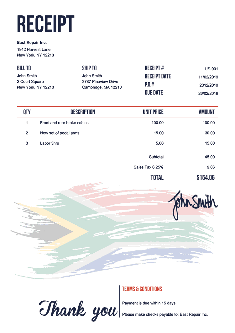 Receipt Template Us Flag Of South Africa
