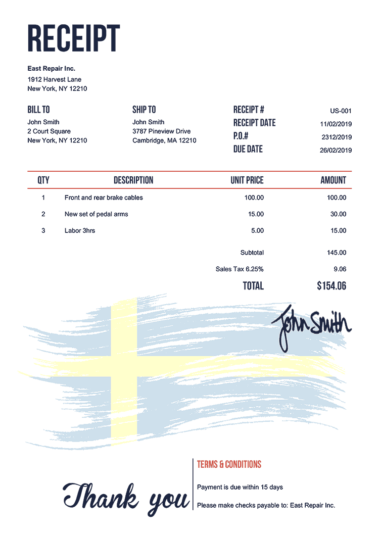 Receipt Template Us Flag Of Sweden