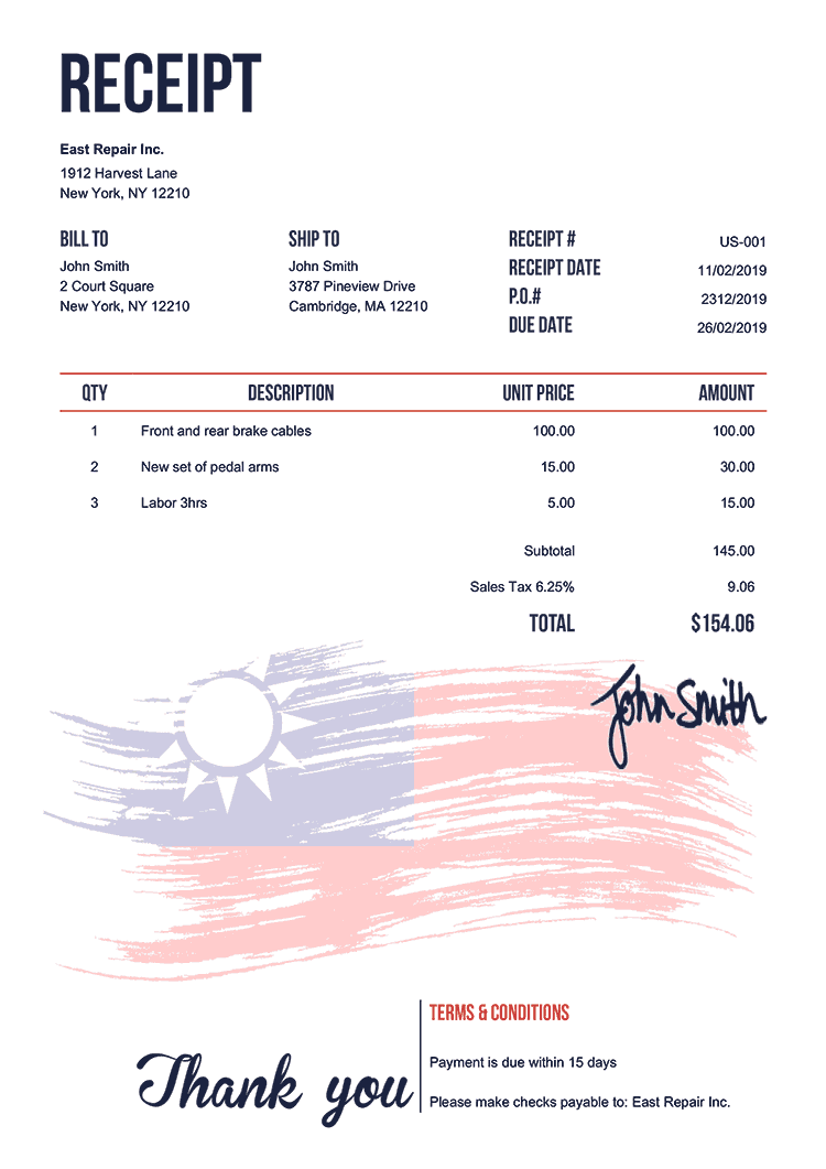Receipt Template Us Flag Of Taiwan
