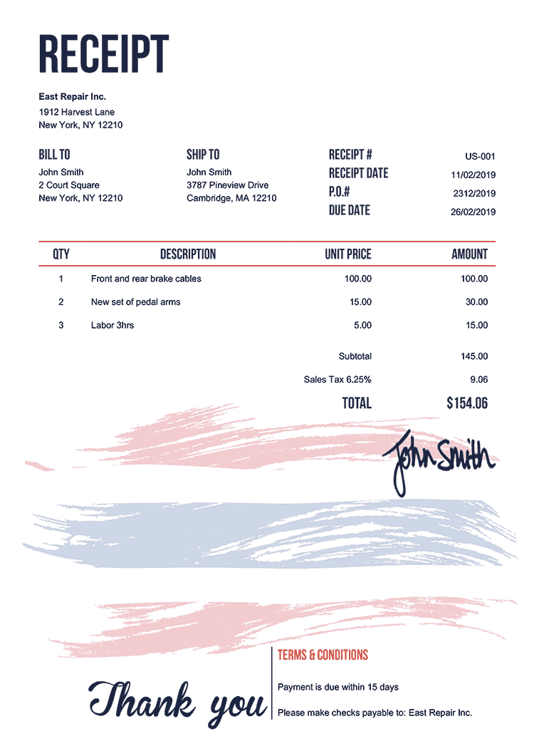 Receipt Template Us Flag Of Thailand