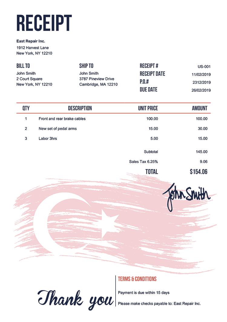Receipt Template Us Flag Of Turkey