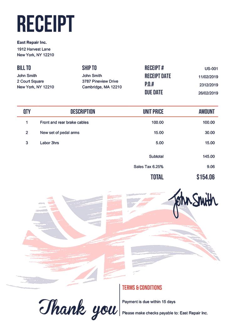 Receipt Template Us Flag Of United Kingdom