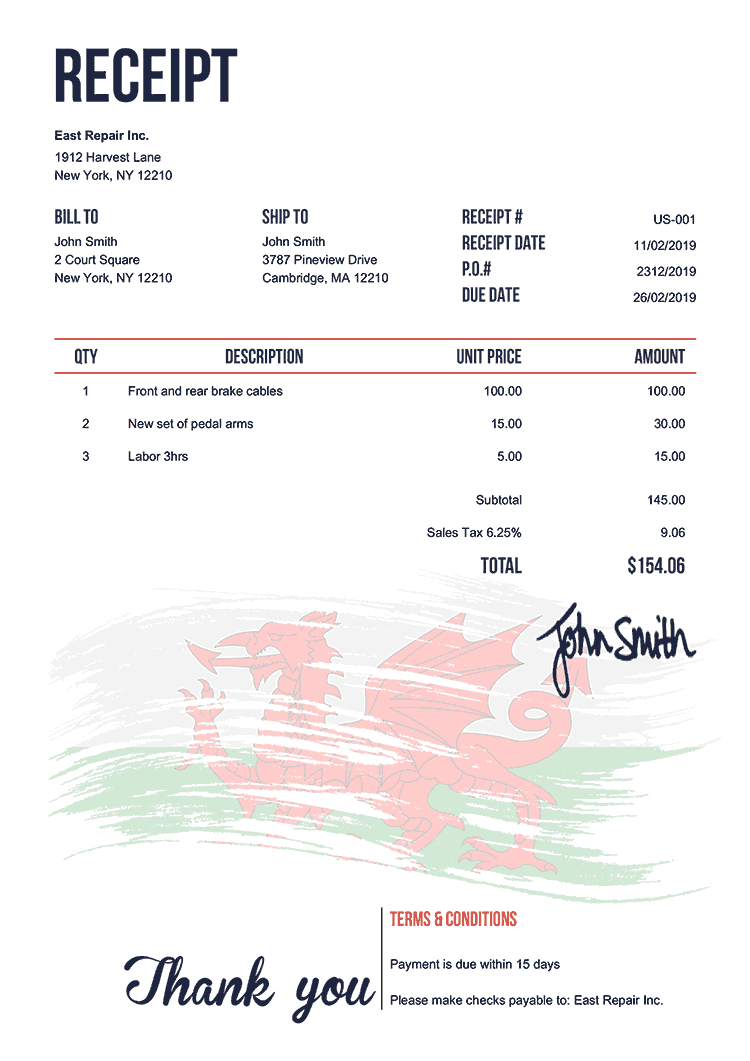 Receipt Template Us Flag Of Wales