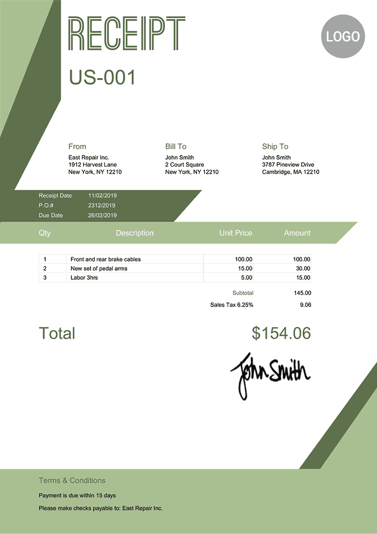 Receipt Template Us Forest