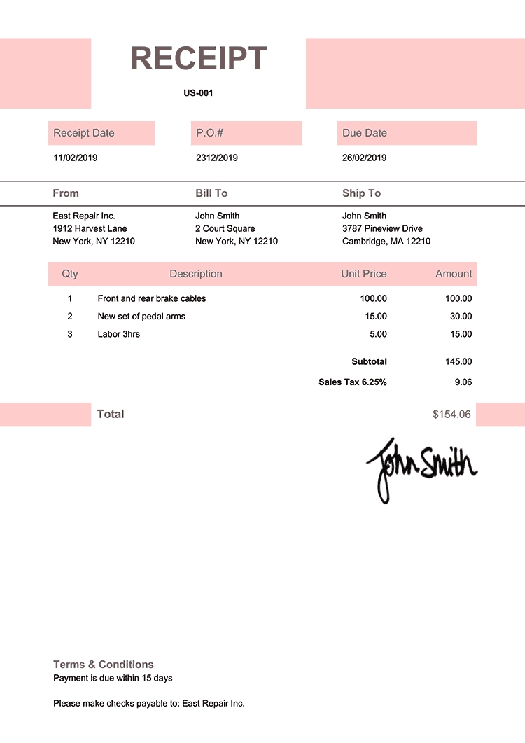 Receipt Template Us Impact Pink