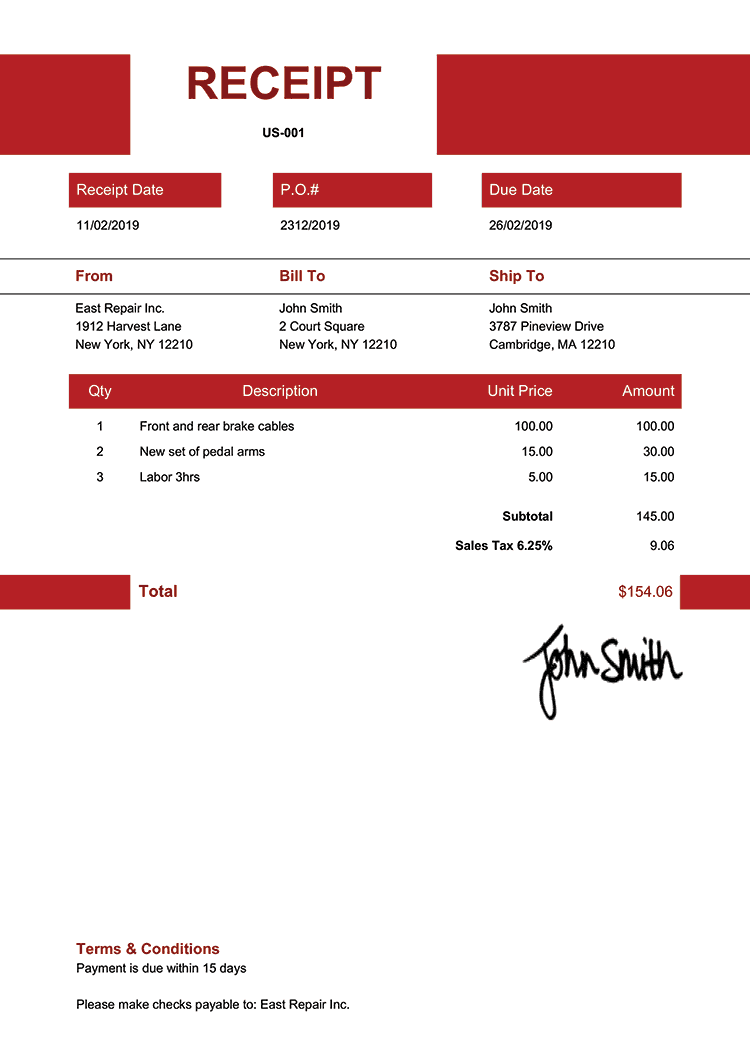 Receipt Template Us Impact Red