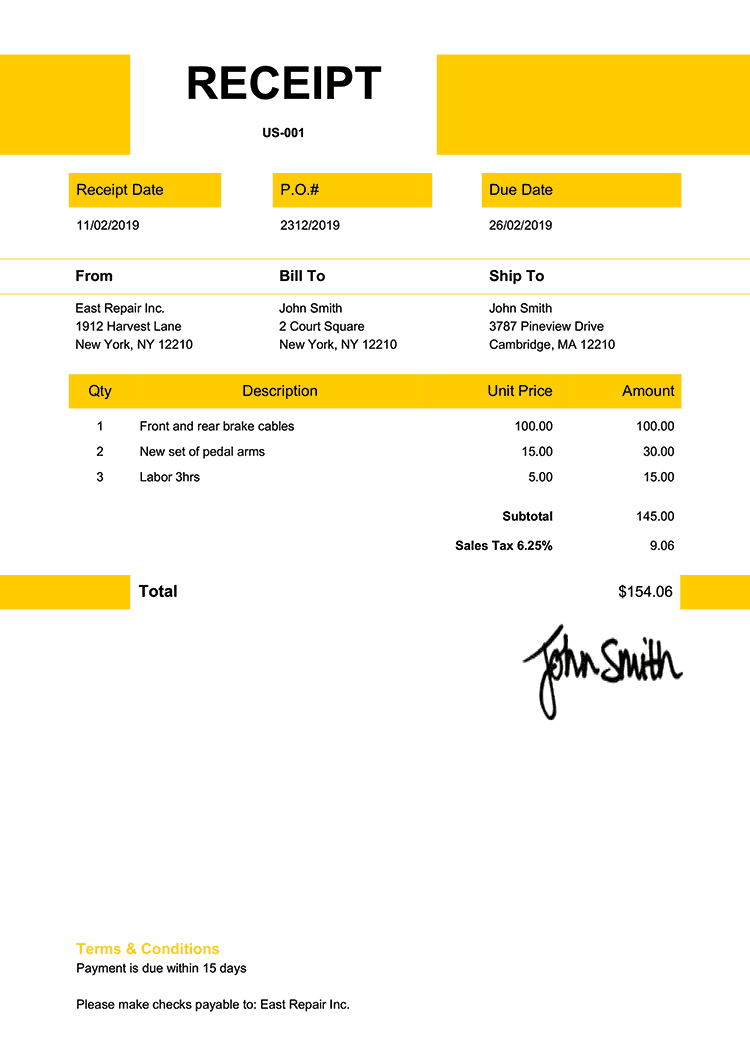 Receipt Template Us Impact Yellow